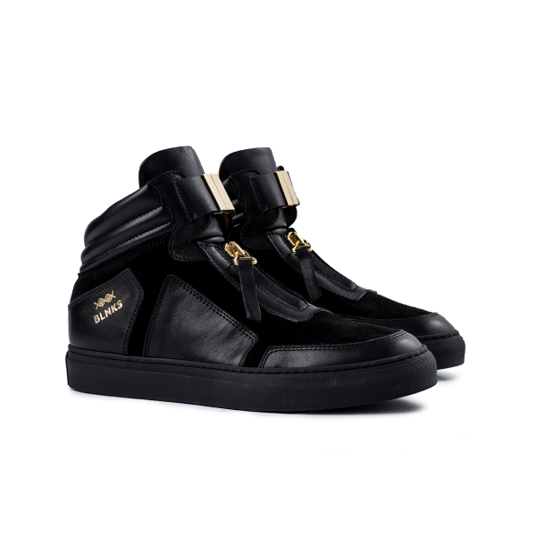 8015 High Top Zipper - Black on Black